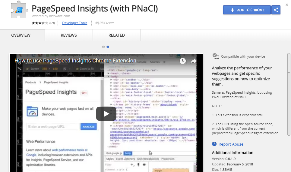 PageSpeed Insights (with PNaCl) - Chrome Web Store